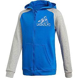 adidas COMMERCIAL PACK FULL ZIP HOODIE modrá 128 - Chlapčenská mikina