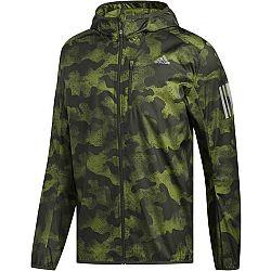 adidas OWN THE RUN JKT tmavo zelená S - Pánska bežecká bunda