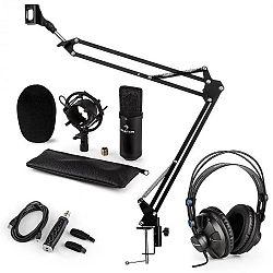 Auna CM001B mikrofónová sada V3 slúchadlá, kondenzátorový mikrofón, USB adaptér, mikrofónové rameno, čierna farba
