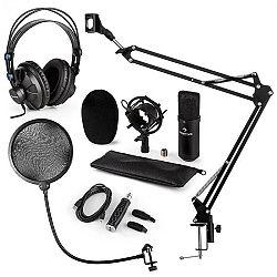 Auna CM001B mikrofónová sada V4 slúchadlá, kondenzátorový mikrofón, USB adaptér, mikrofónové rameno, pop filter