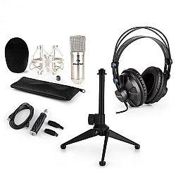 Auna CM001S V1, mikrofónová sada, slúchadlá + kondenzátorový mikrofón sUSB adaptérom + statív, strieborná farba