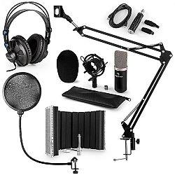 Auna CM003 mikrofónová sada V5, čierna, kondenzátorový mikrofón, USB konvertor, slúchadlá, mikrofónové rameno, pop filter, akustická clona