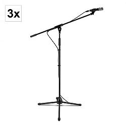 Auna KM 03, 3 x štvordielna mikrofónová sada, mikrofón + stojan + svorka + kábel