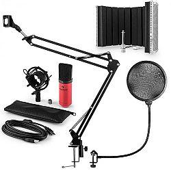 Auna MIC-900RD USB mikrofónová sada V5, červená, kondenzátorový mikrofón, pop filter, akustická clona, rameno