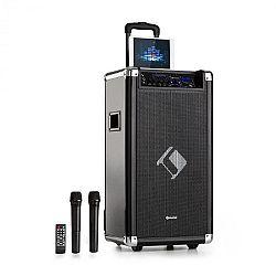 "Auna Moving 120, PA systém, 2 x 8"" woofer, 60 / 200 W max. , VHF mikrofón, USB, SD, BT, AUX, prenosný"