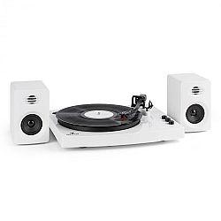 """Auna TT-Play gramofón, 2 stereo reproduktory (3""""/10W) BT 33 1/3 a 45 otáčok/min, biela farba"""