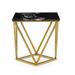 Besoa Black Onyx II, konferenčný stolík, 50 x 55 x 35 cm (Š x V x H), mramorový vzhľad, zlatý/čierny