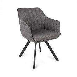 Besoa Roger, čalúnená stolička, penová výplň, polyester, oceľové nohy, tmavosivá