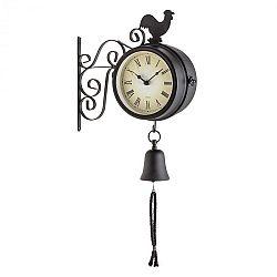 Blumfeldt Early Bird, nástenné hodiny, záhradné hodiny, teplomer, 28 x 34 x 10 cm, zvon, retro