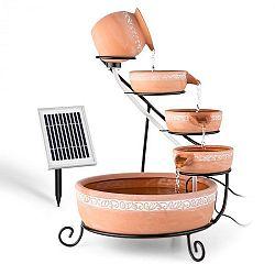 Blumfeldt Empoli, kaskádová fontána, terakota, 5 úrovní, 200 l/h, solárna, 2 W, LED