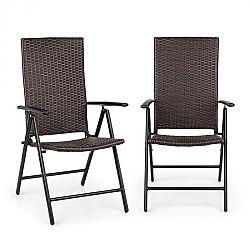 Blumfeldt Estoril, záhradná stolička, polyratan, hliník, 7 úrovní, skladacia, hnedá