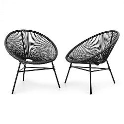 Blumfeldt Las Brisas Chairs, záhradné stoličky, sada 2 kusov, retro dizajn, 4 mm pletivo, čierne