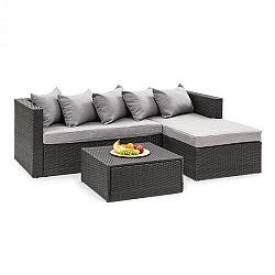 Blumfeldt Theia Lounge Set, záhradná sedacia súprava, čierna/svetlosivá
