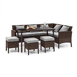 Blumfeldt Titania Dining Lounge Set, záhradná sedacia súprava, hnedá/svetlosivá