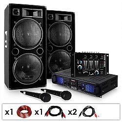 """Electronic-Star DJ SADA """"DJ-20.1"""", PA zosilňovač, PA reproduktor, mixážny pult, mikro kábel, 2000 W"""