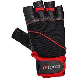 Fitforce FERAL čierna M - Kožené fitness rukavice