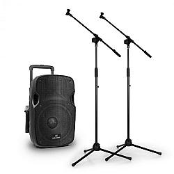 """Malone  PW-2912, mobilný 12"""" 350W aktívny PA reproduktor + 2x VHF mikrofóny a stojany"""