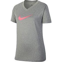 Nike DRY TEE LEG VNECK SWOOSH G šedá M - Dievčenské tričko