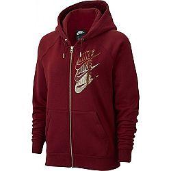 Nike NSW HOODIE FZ BB SHINE W vínová S - Dámska mikina