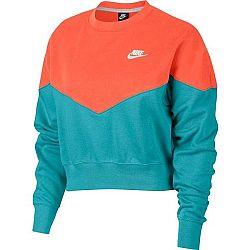 Nike NSW HRTG CREW FLC oranžová M - Dámska mikina