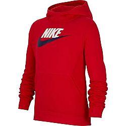 Nike NSW PO HOODIE CLUB FLC HBR červená L - Chlapčenská mikina