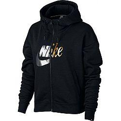 Nike NSW RALLY HOODIE FZ MATALIC čierna L - Dámska mikina s kapucňou
