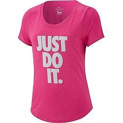 Nike TEE LEG SCOOP JDI ružová XS - Dievčenské športové tričko