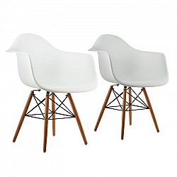 OneConcept Bellagio, biela, škrupinová stolička, sada 2 kusov, retro, PP sedadlo, brezové drevo