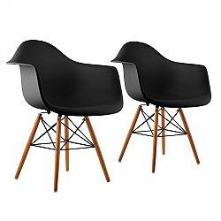 OneConcept Bellagio, čierna, škrupinová stolička, sada 2 kusov, retro, PP sedadlo, brezové drevo