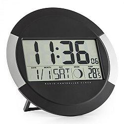 OneConcept Clockwork, digitálne bezdrôtové nástenné hodiny, teplomer, kalendár, fáza mesiaca, stojan