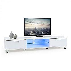 OneConcept Keira Lowboard, TV stolík, biely, LED osvetlenie, zmena farieb