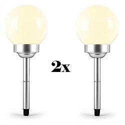 OneConcept LED-Flower 24, 2x záhradné svietidlo, solárna lampa, Ø 24 cm, 4 LED diódy, IP44, teplá biela