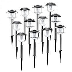 OneConcept Luzern, záhradné svietidlo, solárna lampa, sada 12 kusov, LED, akumulátor, biele, IP44, nerez