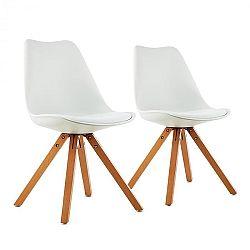 OneConcept Onassis, biela, škrupinová stolička, sada 2 kusov, retro, čalúnená, brezové drevo