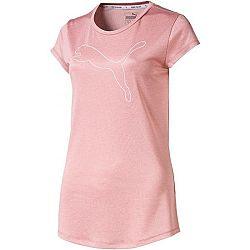 Puma ACTIVE LOGO HEATHER TEE ružová M - Dámske tričko