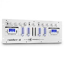 Resident DJ DJ405USB, biely, 4-kanálový DJ mixážny pult, 2 x bluetooth, USB, SD, AUX, funkcia nahrávania