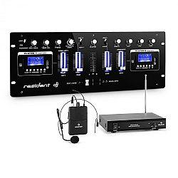 Resident DJ DJ405USB-BK 4-kanálový DJ mixážny pult vrátane sady rádiových mikrofónov s headsetom