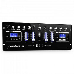 Resident DJ DJ405USB, čierny, 4-kanálový DJ mixážny pult, 2 x bluetooth, USB, SD, AUX, funkcia nahrávania