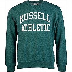 Russell Athletic CREW NECK TACKLE TWILL SWEATSHIRT tmavo zelená S - Pánska mikina