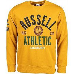 Russell Athletic PRINTED CREWNECK SWEATSHIRT žltá M - Pánska mikina
