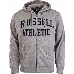 Russell Athletic TRANSFER PRINT HOODY FULL ZIP sivá S - Pánska mikina