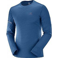 Salomon AGILE LS TEE modrá M - Pánske tričko