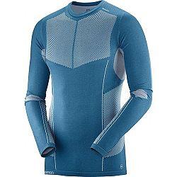Salomon PRIMO WARM SEAMLESS TEE modrá M - Pánske tričko