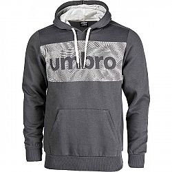 Umbro FLEECE HOODY WITH CHEST GRAPHIC šedá S - Pánska mikina