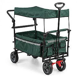 Waldbeck Easy Rider, ťahací vozík so strieškou, do 70 kg, teleskopická tyč, sklopný, zelený