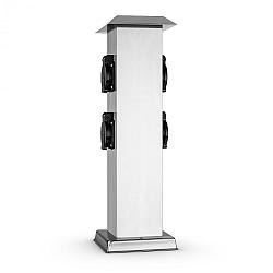 Waldbeck Plug 4 Play Square, stĺp s elektrickými zásuvkami, 4 chránené zásuvky, hranatý, ušľachtilá oceľ
